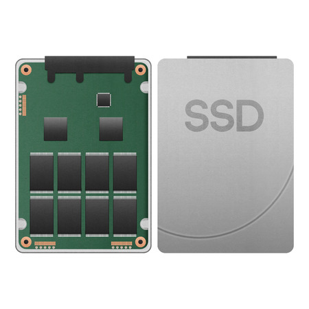 the paper cut of ssd, solid state drive isolated is data storage with hi speed SATA port in computer for safety on white background