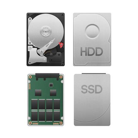 het papier gesneden van de harde schijf vs SSD geïsoleerd is data opslag apparatuur met SATA-technologie in de computer voor de veiligheid op een witte achtergrond