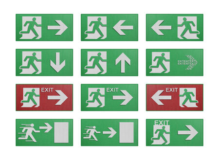 the paper cut of run to exit label for emergency with escape sign from fire photo