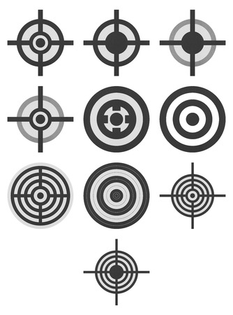 the paper cut of target icon for gun shooting sport and military on white  photo