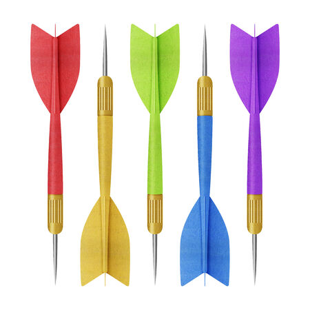 cut the competition: the paper cut of rainbow darts , arrow set for competition with success is isolated on white  Stock Photo