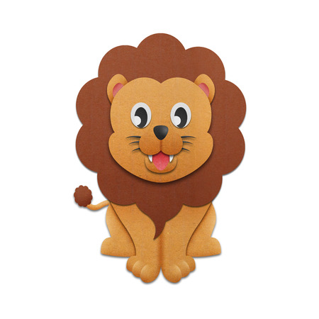the paper cut of lion cartoon is cute design for illustration in the zoo illustration