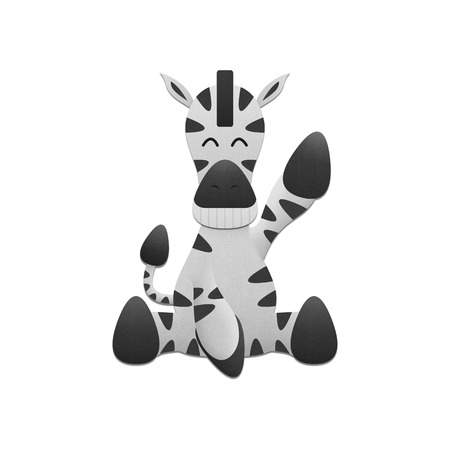 the cute zebra is animal cartoon in safari zoo from africa of paper cut photo