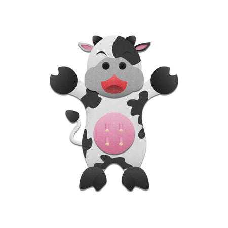 the cute milk cow is animal cartoon in farm of paper cut photo