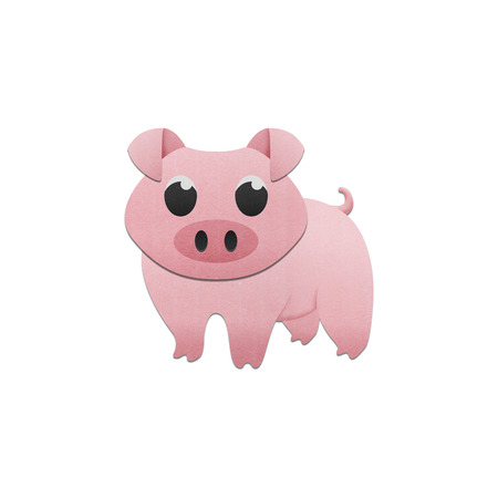 the cute pig is animal cartoon in farm of paper cut photo