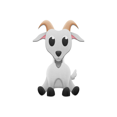 the cute goat is animal cartoon in farm and zoo of paper cut photo