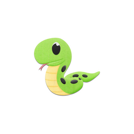 the cute snake is reptile animal cartoon in the zoo of paper stock