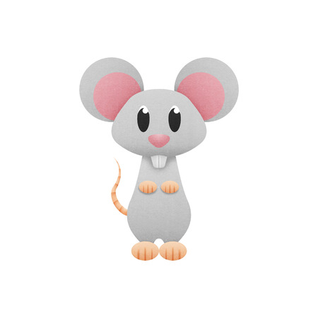 the white mouse, rat is cute cartoon illustration from animal of paper cut illustration