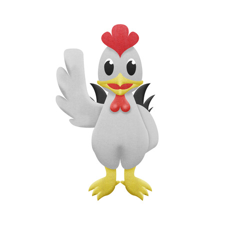 the chicken white cartoon is cute illustration of paper cut illustration