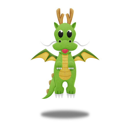 the green dragon for illustration cute cartoon of paper cut illustration