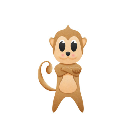 the monkey with illustration cute cartoon of paper cut illustration