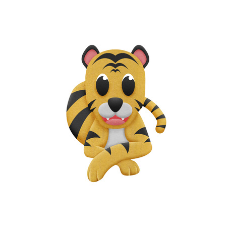 the tiger with illustration cute cartoon of paper cut illustration