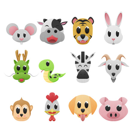 the 12 zodiac is cartoons icon cute of paper cut photo
