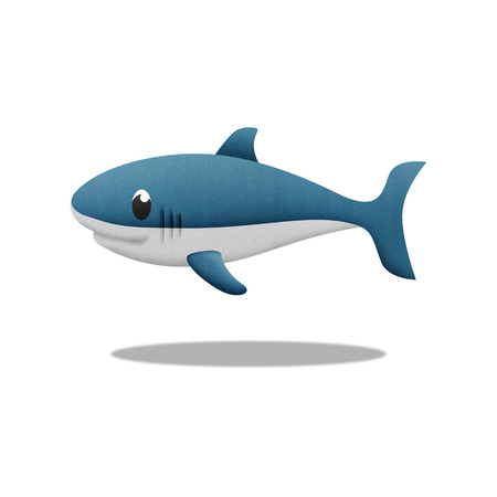 the white shark cartoon is fish in underwater to sea photo