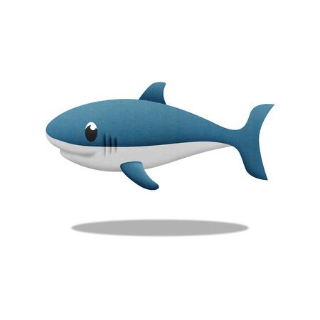 the white shark cartoon is fish in underwater to sea photo