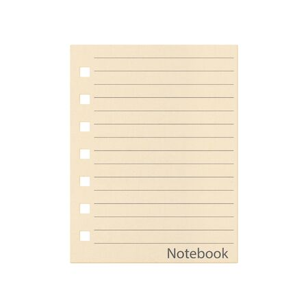 the paper pad with line of notebook isolated on a white background  photo