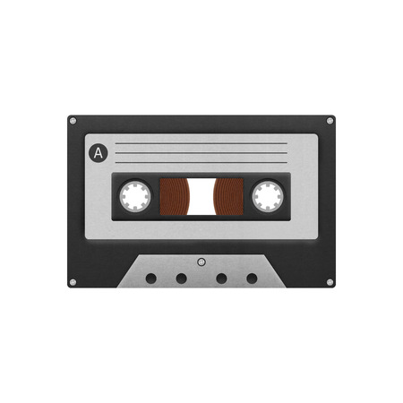 compact cassette: the cassette tape compact for play music and recorder to audio in 1980s of paper cut