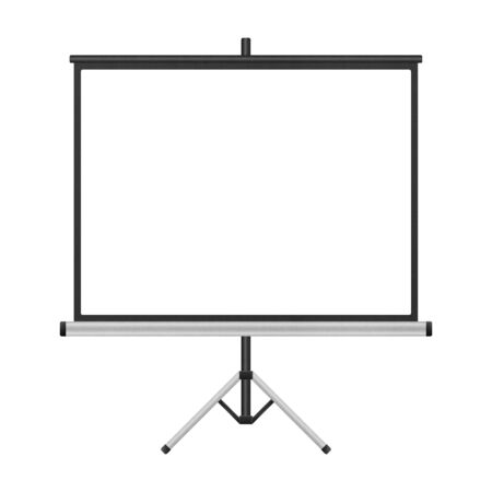the blank projector screen with tripod isolated for presentation in business of paper illustration Stock Photo