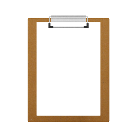 clipboard isolated: the brown wooden clipboard isolated for note in office of paper illustration