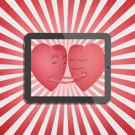 the tablet with two red heart romantic in valentines day Imagens