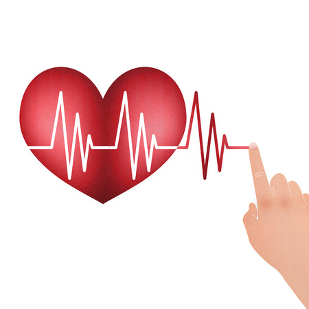 Vital Signs in the Heart with Drag Hand to Line is Healthcare Concept