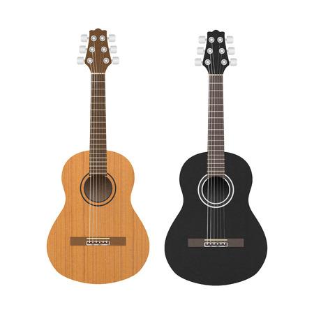 アコースティック ・ クラシック ギターはブラウンとミュージシャンのブラック色 (パスに追加) 写真素材
