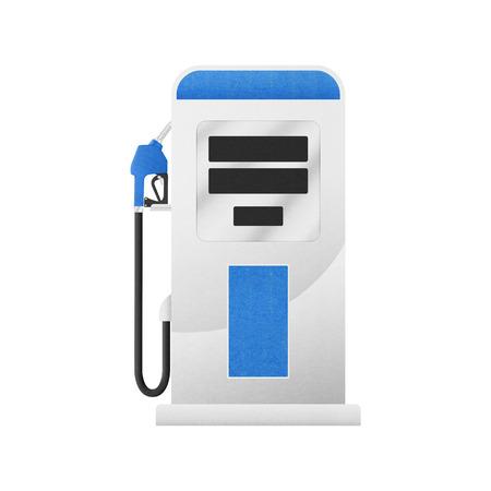 ガソリン スタンドでガソリン ポンプはペーパー カット デザインです。