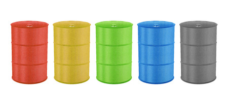 Metal Barrels for Oil, Toxic Chemical and Other is Paper Cut Design Stock Photo