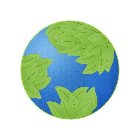 エコアイデアの葉が付いている地球はペーパー カット デザインです。 写真素材