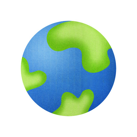green little planet earth: Earth Cartoon for Child is Paper Cut Design