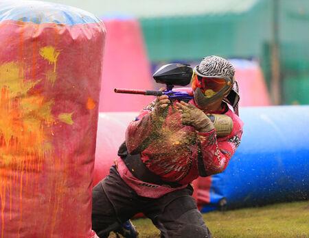 bb gun: Paintball player body shot