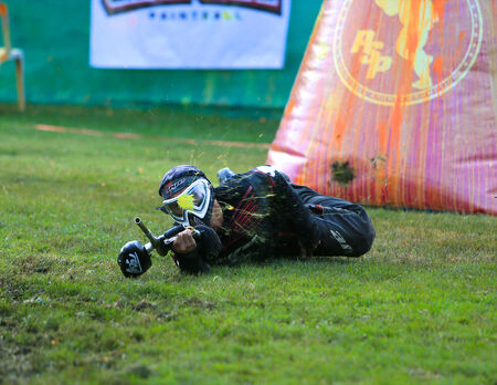 Paintball player shot while jump