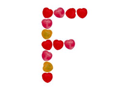 Heart candy character make alphabet F