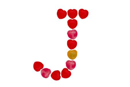 Heart candy character make alphabet J Stock Photo