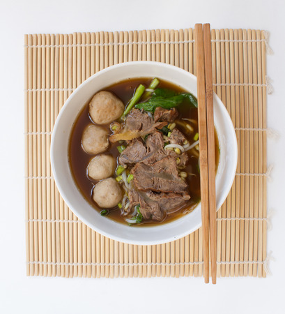 entrails: Chinese clear soup with boiled entrails and vegetables and meat balls