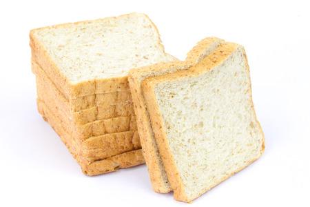 bn: Whole wheat bread on white background Stock Photo