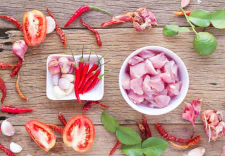 garnish: Pork and garnish for cooking food Stock Photo