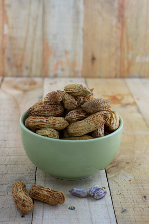 monkey nuts: Boiled Peanuts,Steamed Peanuts on wood background