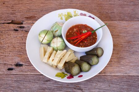 thailand culture: Spicy shrimp paste with steam vegetable for diet food.