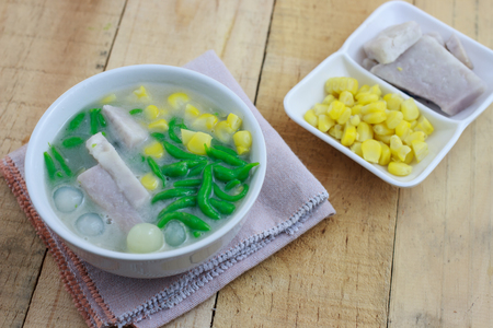 thai food: Thai Coconut Noodle Dessert  with taro and corn(Lod Chong) Stock Photo