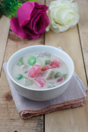 palatable: Thai Dessert caramelized crisps in coconut cream krong krang Stock Photo