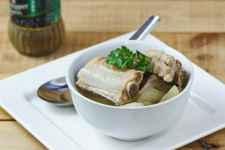 rips: Thai food, Soup with pork rips and pickled cabbage,select focus Stock Photo