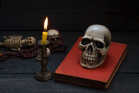 occultism: Still life photography  with human skull and mala on wood background