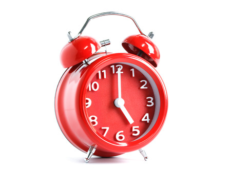 noon: Red double bell alarm clock isolate on white background