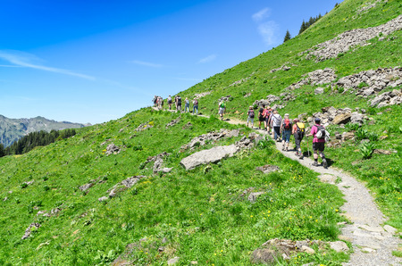 Swiss alps in the summer season. Trekking in the mountainous Alpine countryside, walking tour. Resort Engelberg, Switzerland