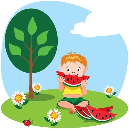 Little boy on a summer  picnic