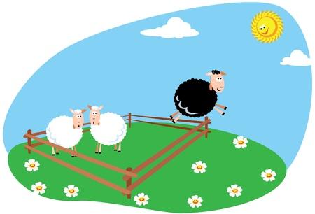 Black sheep - running for freedom Illustration