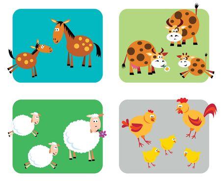 Famiglie di fattoria (cavalli, mucche, pecore, polli)