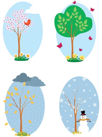 A tree in four seasons Vector