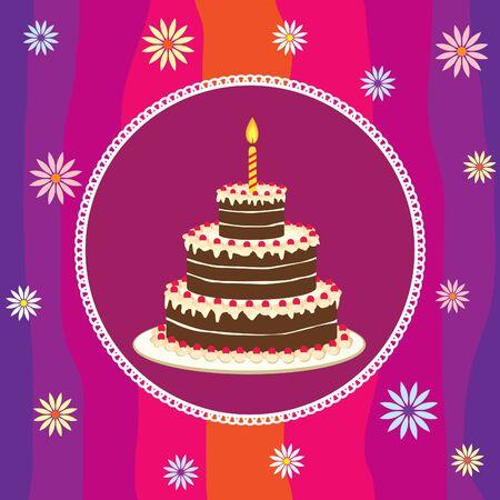 Birthday cake card Illustration